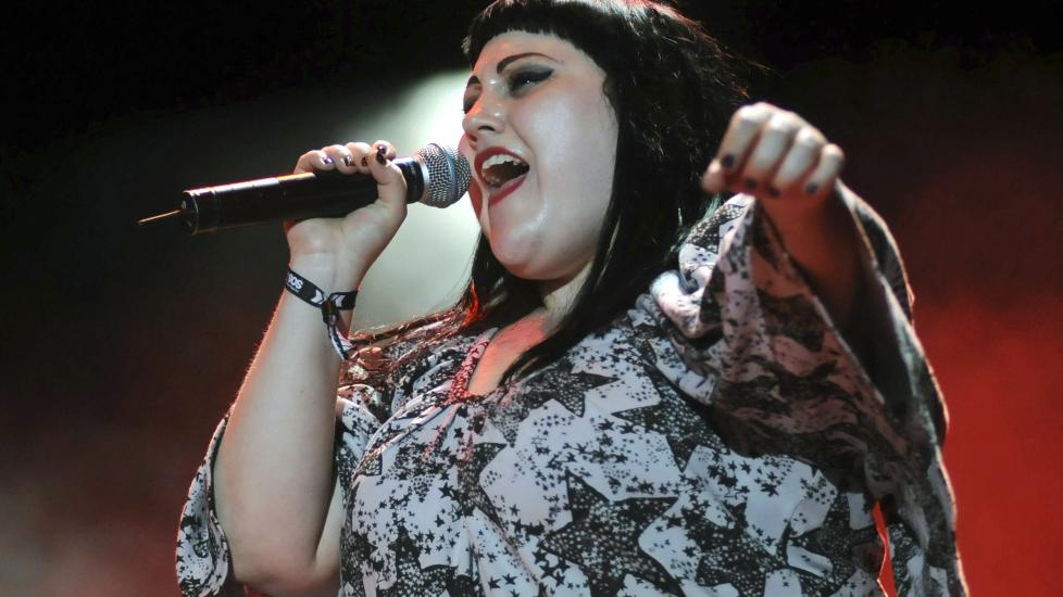 Gossip-vokalist Beth Ditto. Foto: Israel Sanchez/EPA/NTB Scanpix