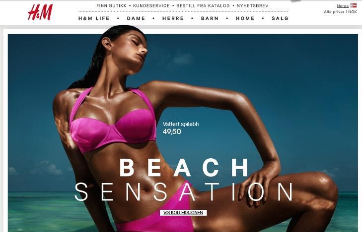 SV�RT BRUN: Brasilianske Isabeli Fontana i H&Ms nye badet�ykampanje �Beach Sensation�. Foto: Faksimile HM.no