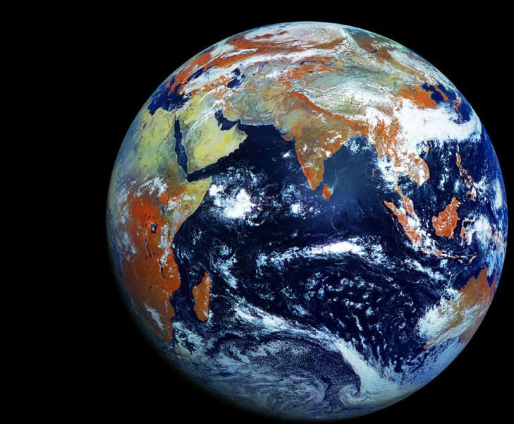 VAKKER:  Dette skal v�re det mest h�yoppl�selige bildet av jordkloden v�r, tatt av den russiske v�rsatellitten Electro-L.