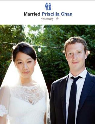 Mark Zuckerberg endret sivilstatusen til �gift�