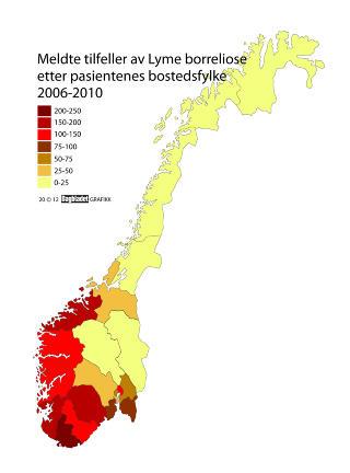 UTBREDELSE: Kartet viser i hvilke fylker flest pasienter har f�tt p�vist borrelia gjennom ELISA-testen. Kilde: Folkehelseinstituttets �rsrapport 2011