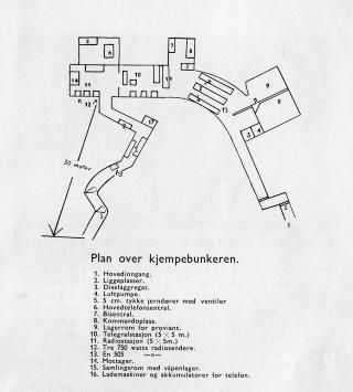 BUNKEREN: Tyskerne sprengte inn en diger bunker under V�ker��sen. Illustrasjon: Sollerud vel.