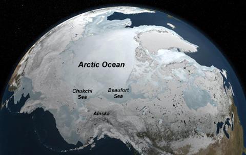LIV UNDER ISEN: Forskere trodde opprinnelig at det var umulig å finne fytoplankton under den tykke havisen. Illustrasjon: NASA