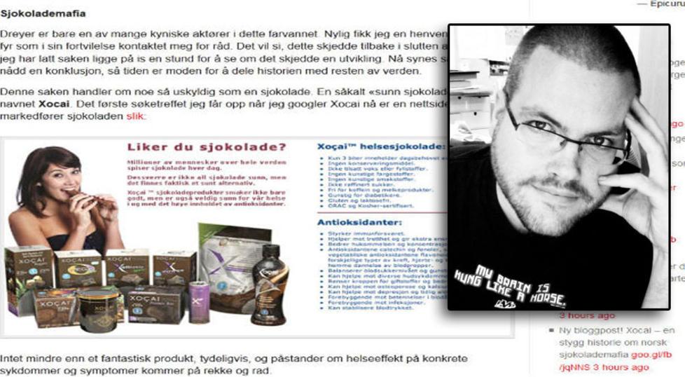 KRITISK TIL SUPERSJOKOLADE: Bloggeren Gunnar Tjomlid skrev i g�r om hvordan en annen blogger ble truet av Sjokoservice Norge etter � ha skrevet negativt om sjokoladen Xocai.