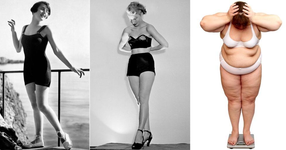 FRA FORMFULL TIL FORMLØS: Kvinner med former, smalt liv og runde hofter, var den typiske kvinnekroppen på 50-tallet. Problemet for veldig mange i dag er at kroppsformen er blitt rund både i livet og over hoftene. Illustrasjonsfoto: Thinkstock og Scanpix