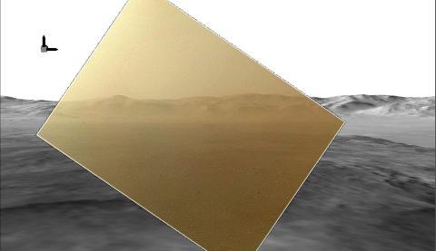 DET F�RSTE FARGEBILDET: NASA offentliggjorde 8. august det f�rste fargebildet fra �Curiosity� Bildet er uklart fordi st�vdekselet enn� ikke er fjernet. Foto: EPA / NASA / JPL-Caltech / MSSS / HO / NTB SCANPIX