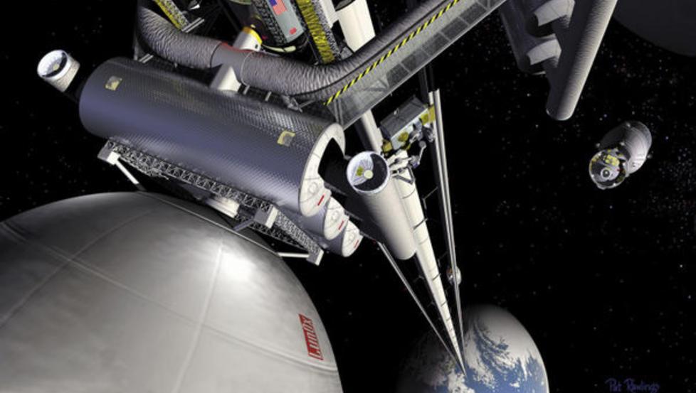 �VERSTE ETASJE: En grafikk av en romheis, slik den vil kunne se ut fra rommet. En heis ut i rommet vil redusere kostnadene ved � ta personer og gjenstander ut i verdensrommet kraftig, og gj�re det ytre rom tilgjengelig for flere. Illustrasjon: NASA