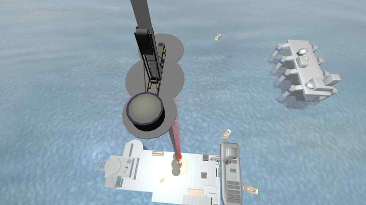 KLATREROBOT: Illustrasjonen viser en robot som klatrer langs en fiberremse, ikke ulikt fors�kene som allerede er gjort av selskapet Liftport. Foto: LIFTPORT