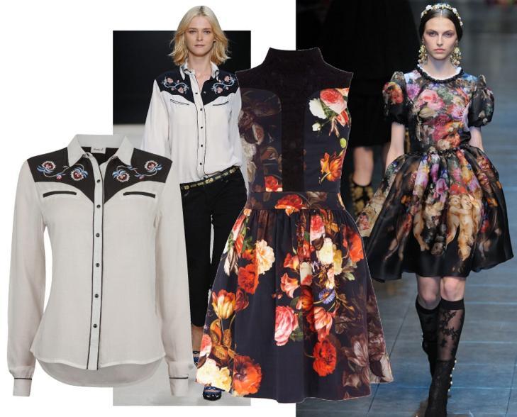WESTERNSKJORTE OG BLOMSTRET KJOLE: Isabel Marant gj�r det igjen, og vi hiver oss mer enn gjerne p� westerntrenden. S� hyggelig at kjedebutikker som Cubus f�lger opp da! Er du en kjolejente, vil du elske visningen til Dolce & Gabbana, - og forh�pentligvis ogs� denne fine kjolen fra Oasis. FOTO: Produsentene og Catwalkpix