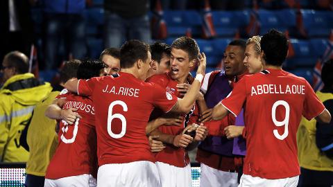 SCORET: Markus Henriksen scoret 1-1-m�let til Norge  Foto: Bj�rn Langsem / Dagbladet.