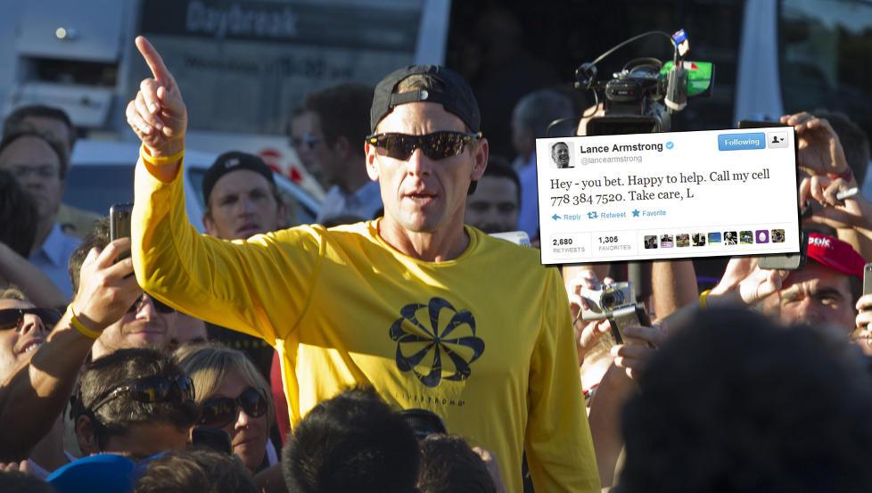 MYSTISK MELDING: Lance Armstrong la ut denne meldingen p� Twitter i natt. Telefonnummeret er trolig kanadisk. P� bildet er Armstrong foran en l�petur med fans i Montreal i nettopp Canada. Foto: CHRISTINNE MUSCHI / REUTERS / NTB SCANPIX