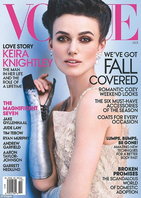 FORSIDEPIKE: Keira Knightley (27) snakker ut om skuespillerkarrieren i oktoberutgaven av amerikanske Vogue. Foto: Faksimile Vogue