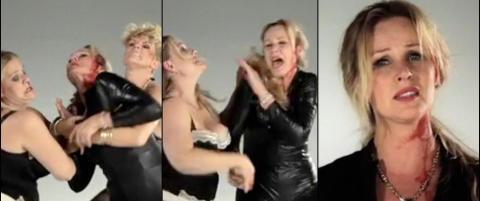 Her havner Dorthe Skappel i blodig sl�sskamp i Rihanna-sketsj