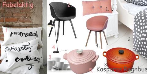 ROSA ER I VINDEN: Bloggerne dr�mmer om kule stoler, lekre jerngryter og detaljer med grafisk uttrykk.  FOTO: Blogger/Produsentene