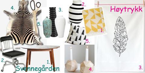 KULE KJ�P TIL HUSET: Sjekk de de trendigste kj�per til hjemmene sine akkurat n�. FOTO: Blogger/Produsentene