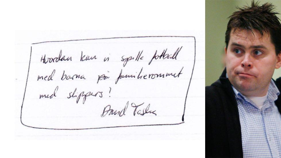 F�R IKKE SPILLE FOTBALL: Ransd�mte David Toska er blant de 138 fangene som har skrevet under p� brevet der insatte i Halden fengsel uttrykker stor misn�ye over at de ikke f�r lov til � bruke sko i bes�ksrommet i fengslet. Foto: Faksimile fra brevet / Erling Slyngstad H�geland