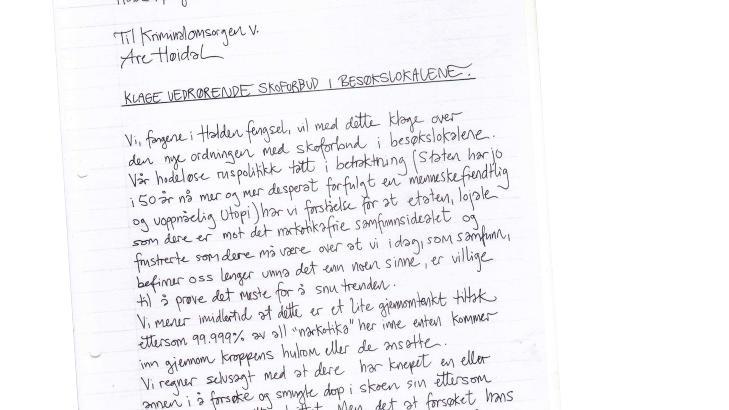 MISFORN�YD MED SKOFORBUD: 138 innsatte ved Halden fengsel har signert denne klagen. Foto: Faksimile fra brevet