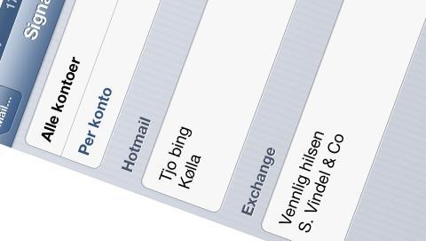 SIGNATUR: N� kan du lage en unik signatur for hver av dine e-post kontoer. HjemmePC