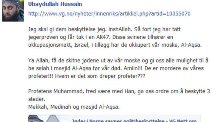 TRUSSEL: Slik s� trusselmeldingen ut p� Facebook. Foto: Skjermdump