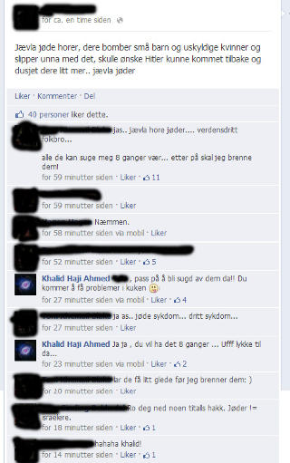 SAMTALEN: Slik utartet samtalen seg p� Facebook. Foto: Skjermdump