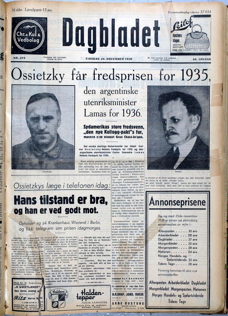 DAGBLADETS MANN: Dagbladet var Ossietzkys avis i Norge. Foto: Geir B�lstad / Dagbladet.
