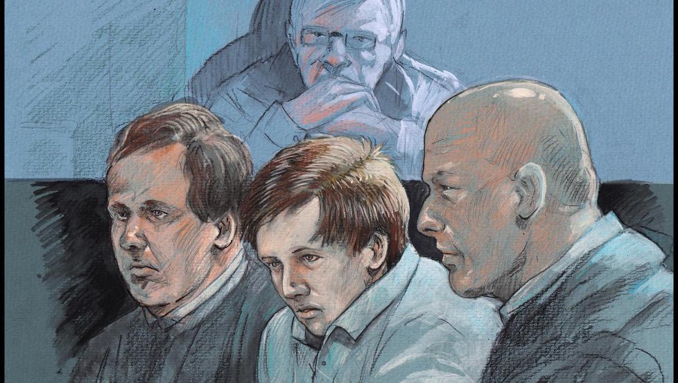 VEDTAR DOMMEN: Christian Haugland har bestemt seg for � vedta dommen p� 19 �r i fengsel for drap og voldtekt mot Hilda Feste (98). Tegning: Fedor Sapegin