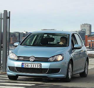 GJERRIG KOMPAKTBIL: VW Golf BlueMotion brukte bare 0,45 l/mil på testrunden.