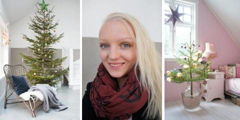 Amalie Fagerli blogger og bor på Svennegården i Eidsvik utenfor Ålesund. Hun pynter helst med farger, og varierer ved å sette sammen julepynten ulikt fra år til år. © FOTO: Amalie Fagerli / svenngaarden.blogspot.com