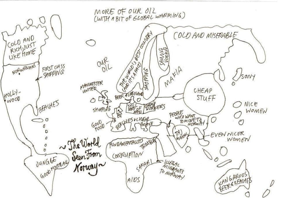KARTET OG VERDEN: Gjenkjennelig? Tegningen Hylland Eriksen la ut p� Facebook er i skrivende stund likt av rundt 3000. Tegning: Thomas Hylland Eriksen