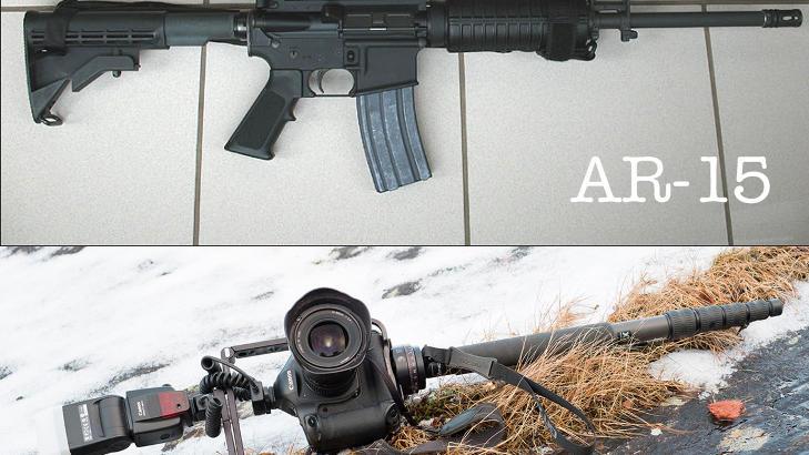 HVA ER FARLIGST?: Nathan Lediard har laget denne fotomontasjen av en AR-15 og hans eget �v�pen�.