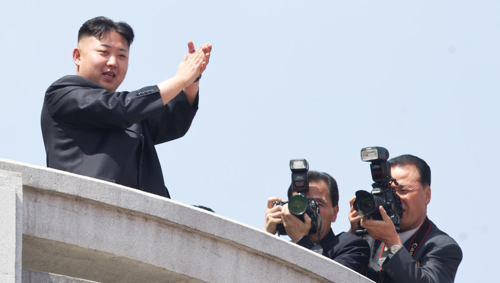 IKKE F�RSTE GANG: Nord-Koreas politiske ledelse g�r ikke av veien for � komme med trusler og ukonvensjonelle uttalelser. Den siste trusselen mot nabolandet S�r-Korea vekker harme i FN: Foto: ED JONES/ AFP