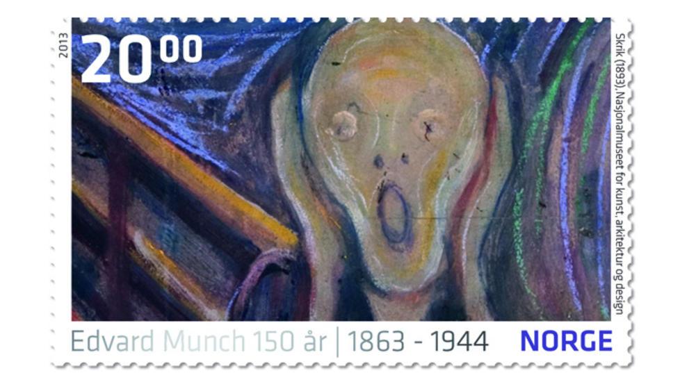 BLIR FRIMERKE: Edvard Munchs �Skrik� og andre kjente malerier fra den store kunstneren blir � se p� frimerker fra Posten.   Foto: NTB Scanpix