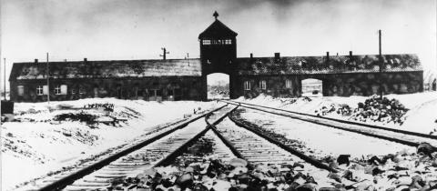 AUSCHWITZ: Blant de mest beryktede konsentrasjonsleirene var Auschwitz-Birkena. Bildet fra 1941 viser jernbanesporene som leder inn til leiren. Foto: AP / Scanpix