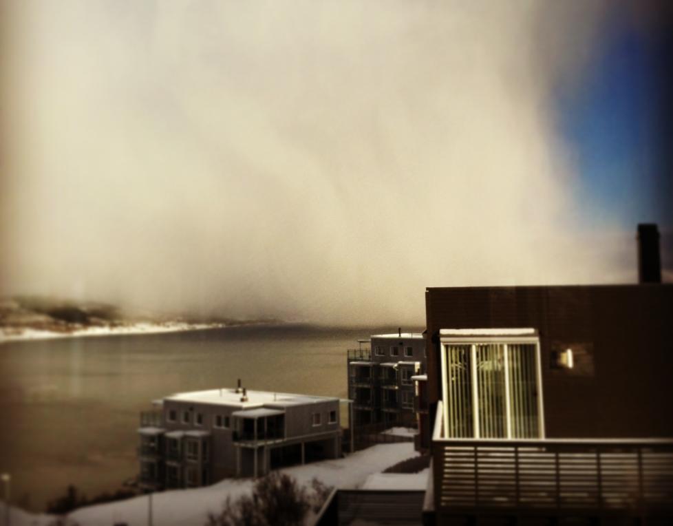 P� VEI: Her raser stormen inn over Troms�. Bildet er tatt i bydelen Hamna, nord p� troms�ya. Foto: Malin Isaksen