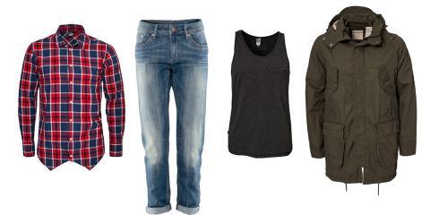 L�N AV KJ�RESTEN: Eksempler p� herreplagg man enkelt kan style sammen med sine egne, feminine plagg. Foto: NELLY/H&M