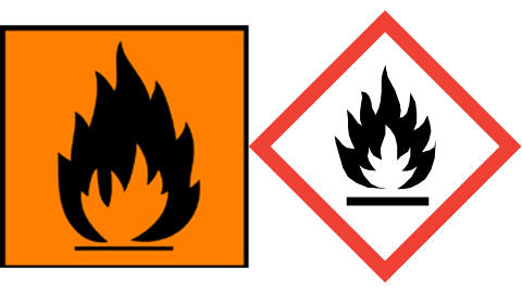 BRANNFARLIG: Brannfarlige kjemikalier. Det gamle symbolet til venstre hadde ogs� teksten ekstremt brannfarlig eller meget brannfarlig under. F�rstnevnte antennes veldig lett selv ved lav temperatur, mens stoffer merket meget brannfarlig antennes lett ved romteperatur.