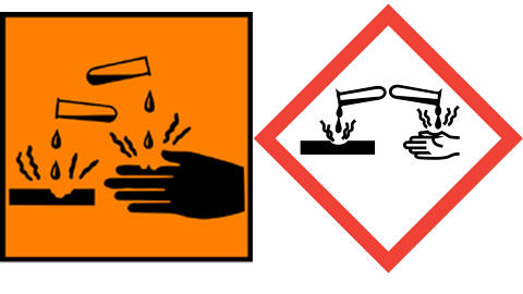 ETSENDE: Kan ved kontakt f�re til varig skade p� hud, svelg eller �yne.