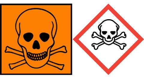 GIFTIG: Akutt giftig, sm� mengder kan for�rsake livsfarlig forgiftning eller d�d. Det gamle symbolet hadde ogs� teksten giftig eller meget giftig under.