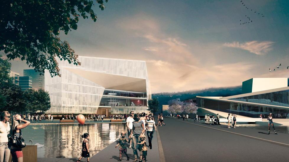 NOE S�NT, KANSKJE:  Deichmanske hovedbibliotek, fra arkitektene Thomas Liu - Lund Hagem-Atelier Oslo ser for seg dette.