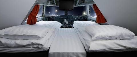Du sover i en jumbojet, og suiten er i cockpit