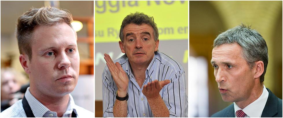 BENEKTER P�STANDENE: - Det er ikke d�rlige arbeidsforhold i Ryanair. Man m� la markedet bestemme, hvis det er s� d�rlige arbeidsforhold i Ryanair, s� vil ikke folk jobbe for Ryanair. Foto(venstre): Anette Karlsen / NTB scanpix. Foto(midtfelt): AFP PHOTO / ANDREAS SOLARO. Foto(h�yre): Berit Roald / NTB scanpix.