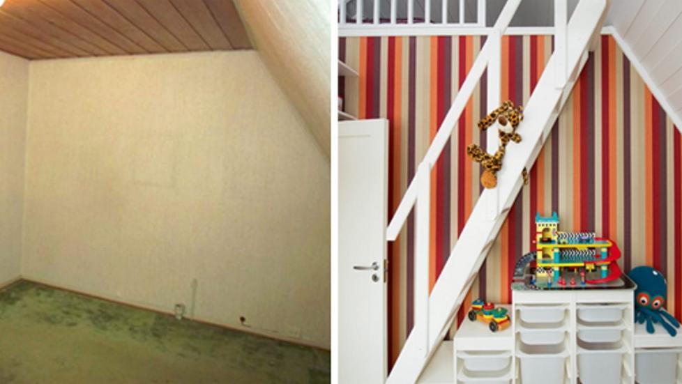 Nedslitt loftrom ble til fargerikt barnerom