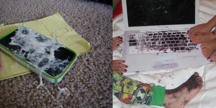 LE ELLER GRÅTE: Hva gjør man når iPhonen er dekket av oppkast eller laptopen dekorert med blå neglelakk? Deler bildene med andre småbarnsforeldre, såklart. FOTO: Shitmykidsruined.com
