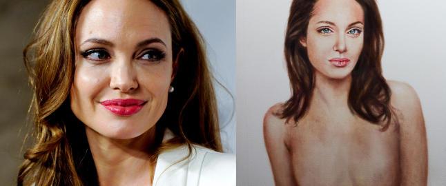 Svensk kunstner sjokkerer med kontroversielt Jolie-maleri