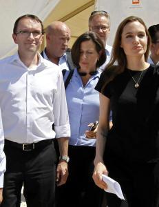 Angelina Jolie og Espen Barth Eide m�tte syriske flyktninger sammen