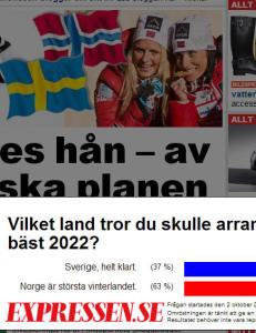 Svenskene mener Norge er bedre egnet enn dem til � arrangere OL