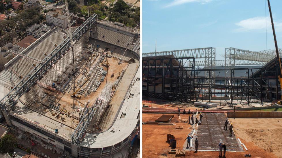 UFERDIG:   Arena da Baixada stadium i  Curitiba og Arena Pantana (t.h) ble fotografert denne uka. Det er mye jobb igjen f�r de to anleggene er ferdige. Foto: NTB Scanpix
