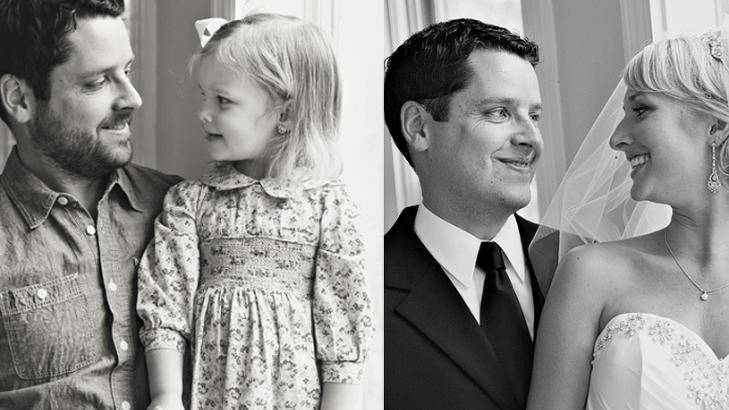 FAR OG DATTER:For å hedre morens minne gjenskapte far Ben og datteren Olivia brudebildene. Foto: Melanie Pace, loft3pdPhotography