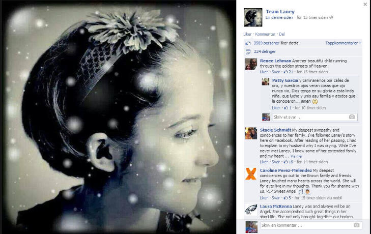 DØDE: Familien la ut dette bildet på Facebook-siden «Team Delaney» i natt norsk tid. Faksimile