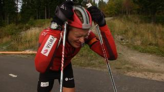Blodslit: Skiskytter Tarjei B� (25) gir alt under trening. Heia heia! Pressefoto: TV 2